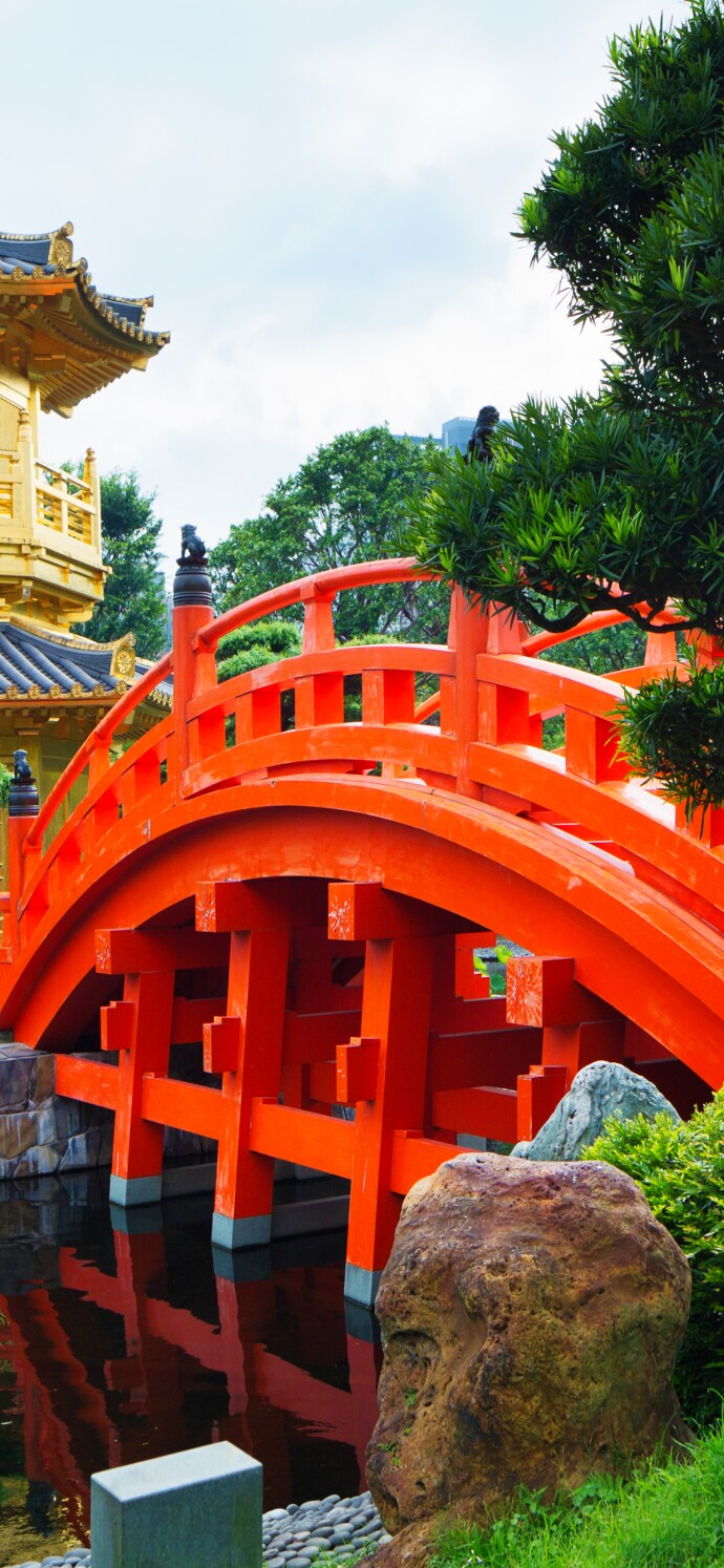 Chinese pagoda and wooden bridge in park
