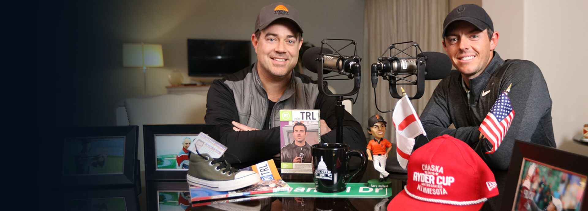 Rory McIlroy and Carson Daly inside the GOLFPASS podcast sound room.